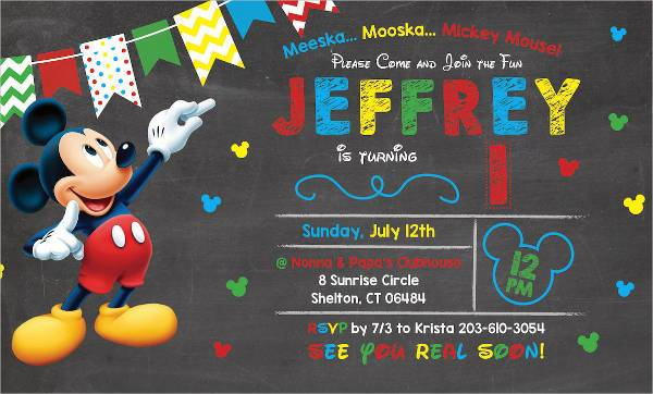 Mickey Mouse Themed 1st Birthday Invitation