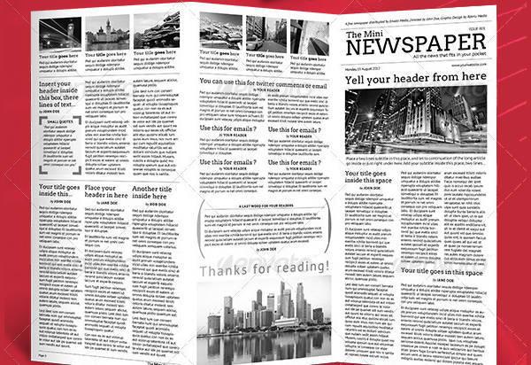 Mini Newspaper Trifold Template