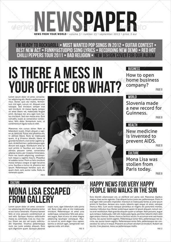 Modern A3 Newspaper Magazine Template
