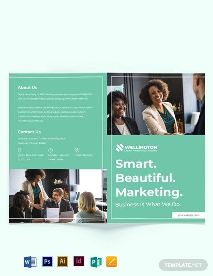 modern advertising company bi fold brochure template