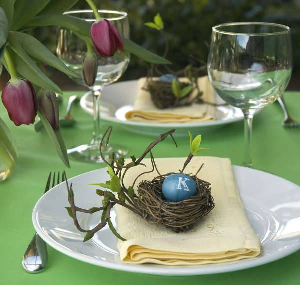 Monogrammed Egg Place Cards