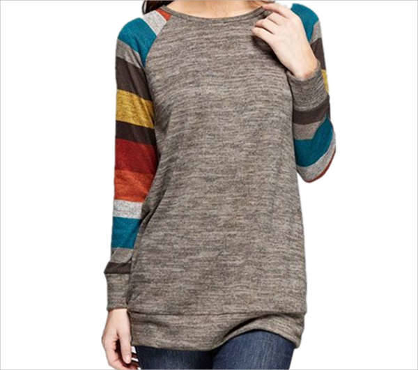 multi coloured striped t shirt