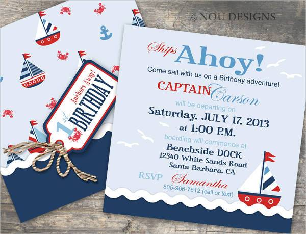 Nautical Themed Birthday Invitation Card