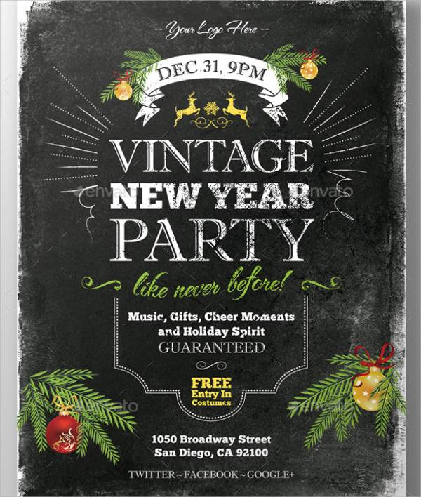 New Year Party Invitation Flyer