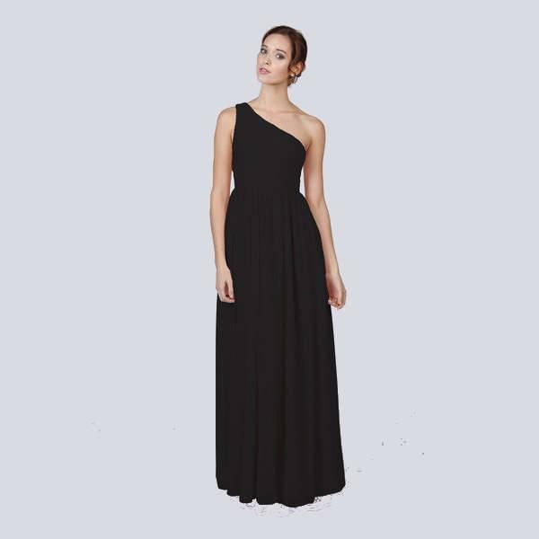 one shoulder black bridesmaid dresses