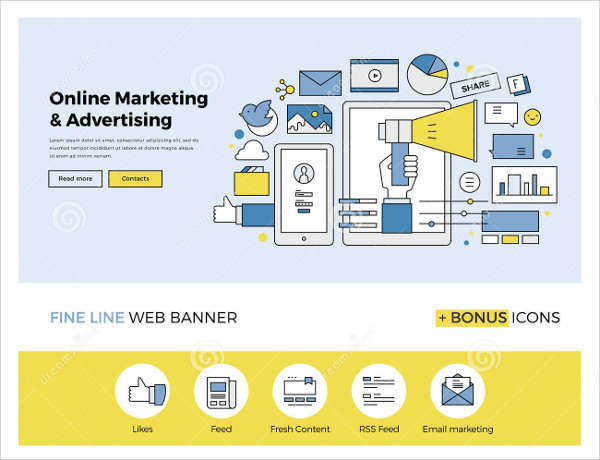 online marketing flat banner