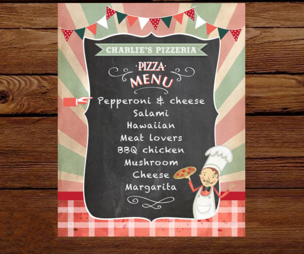 pizza party custom menu