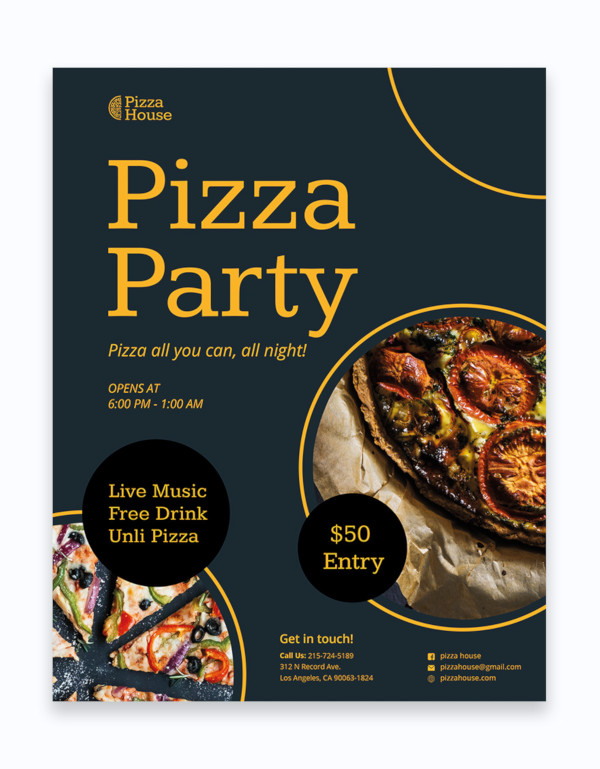 pizza party flyer template