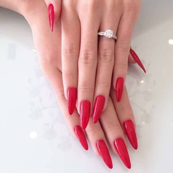 Pointy Nail Design for Long Nails