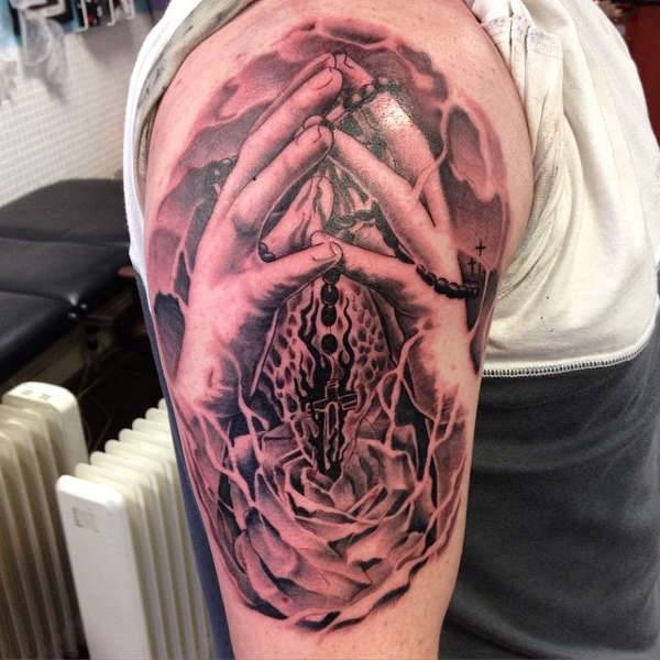 Praying Hands Sleeve Tattoo