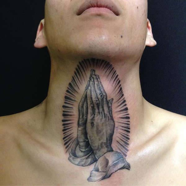 Praying Hands Tattoo on Neck