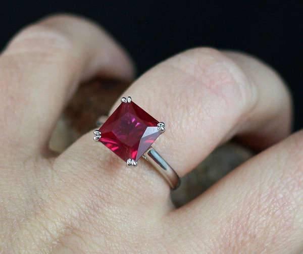 princess cut ruby engagement ring