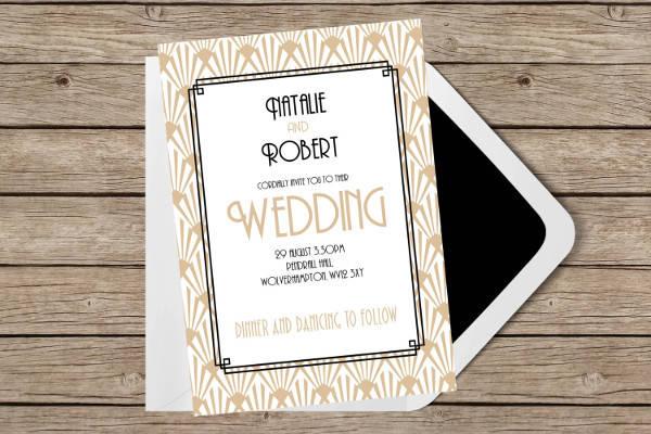 Printable Art Deco Wedding Invitation