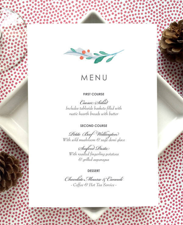 printable holiday party menu