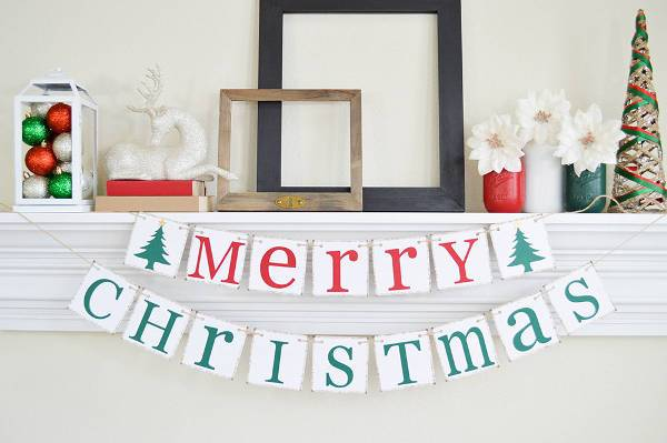 printable merry christmas banner