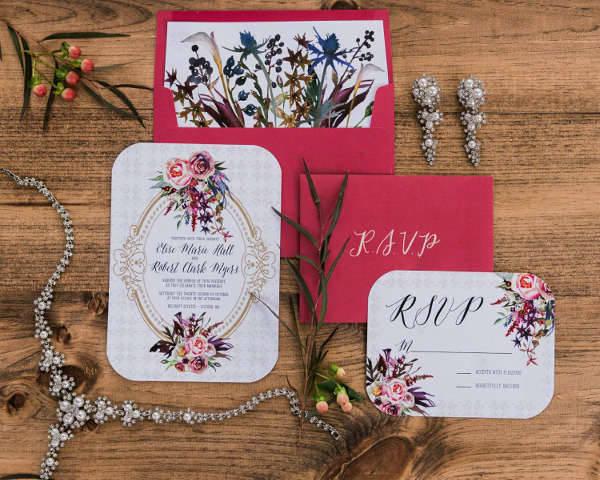 printable vintage wedding invitation