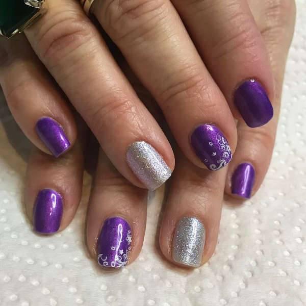 purple wedding nail design