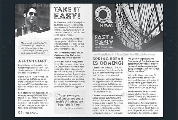 Quick Newspaper Layout Template