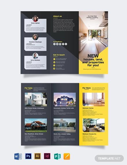 real estate company tri fold brochure template