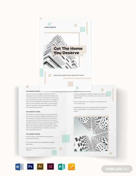 realestate mortgage company bi fold brochure template