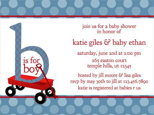 Red Wagon Baby Shower Invitation Radio Flyer