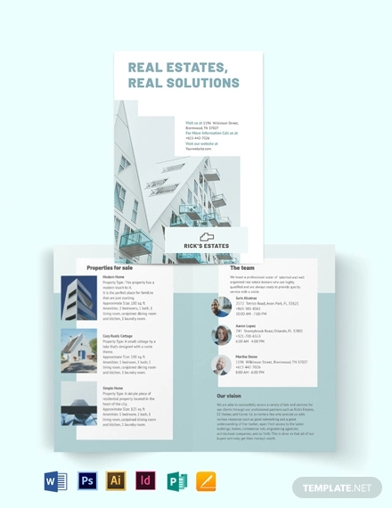 residential realestatebroker bi fold brochure template