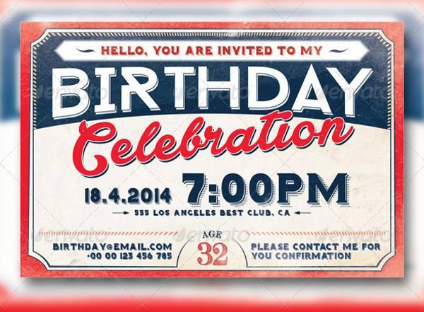 Retro Birthday Invitation Card