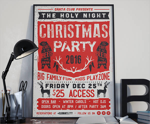 Retro Christmas Party Invitation Flyer
