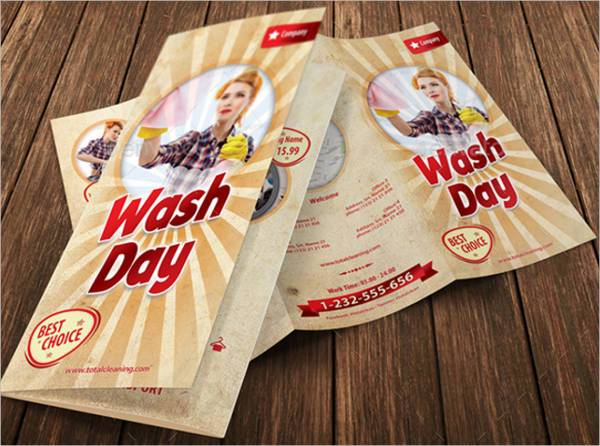 Retro Cleaning Day Service Trifold Brochure