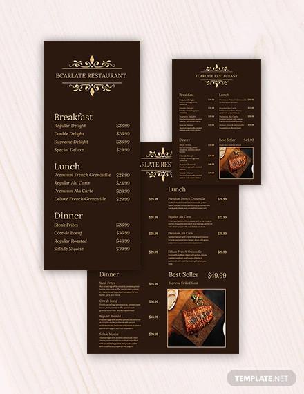 retro french menu template