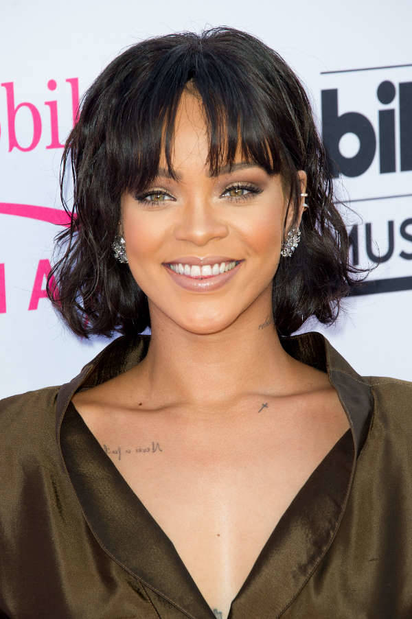 rihanna black hairstyles with bangs