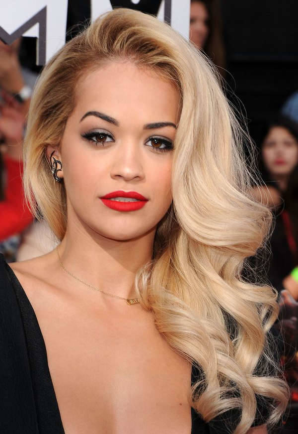 rita ora side swept hairstyle for prom