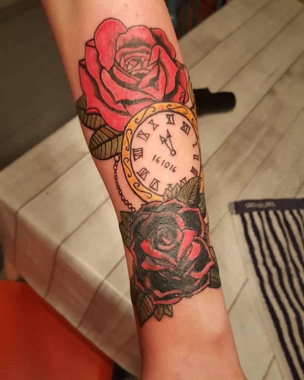 Rose and Clock Tattoo Design