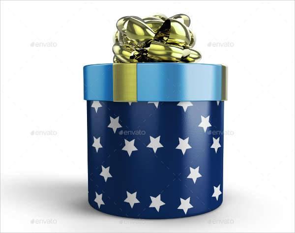 Round Gift Box Mockup
