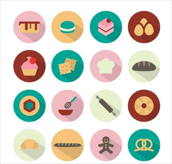 rounded flat bakery icons