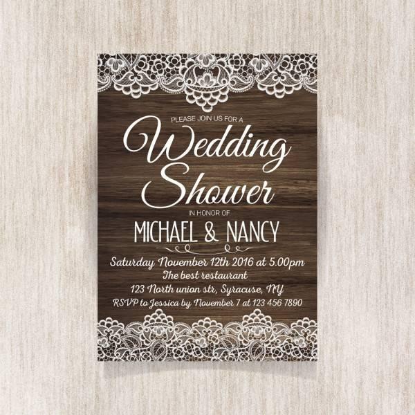 Rustic Wedding Shower Invitation