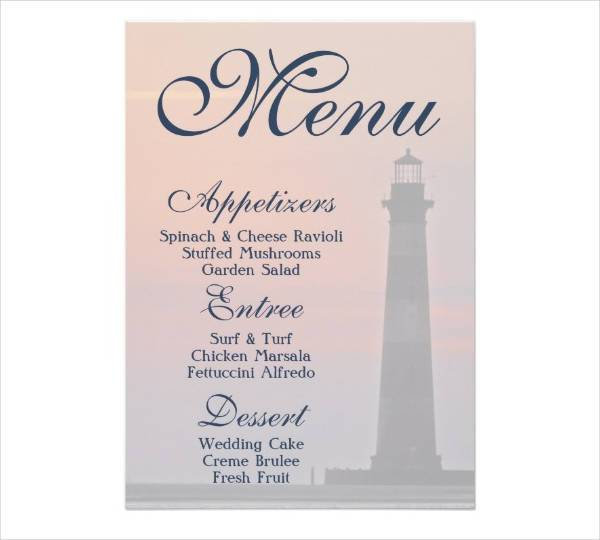 Sample Menu Card Menu Card EdwardianFelix Tilting Celtic Wedding