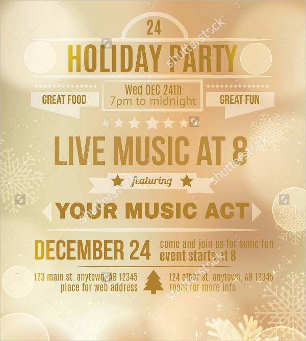 Soft Gold Holiday Invitation Flyer