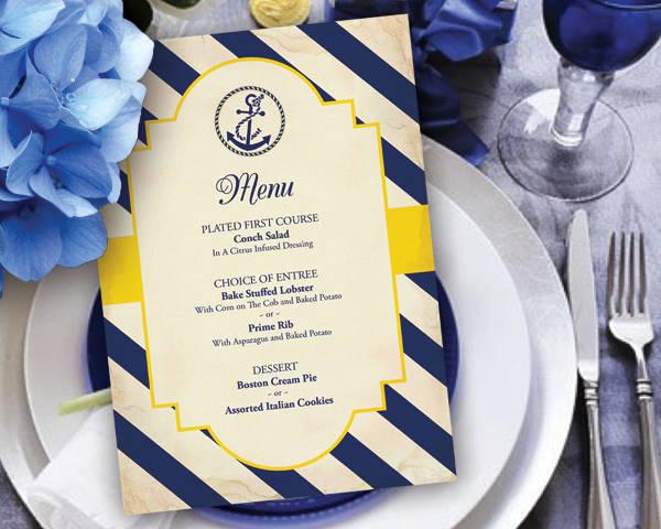 Special Event Menu Catering Design