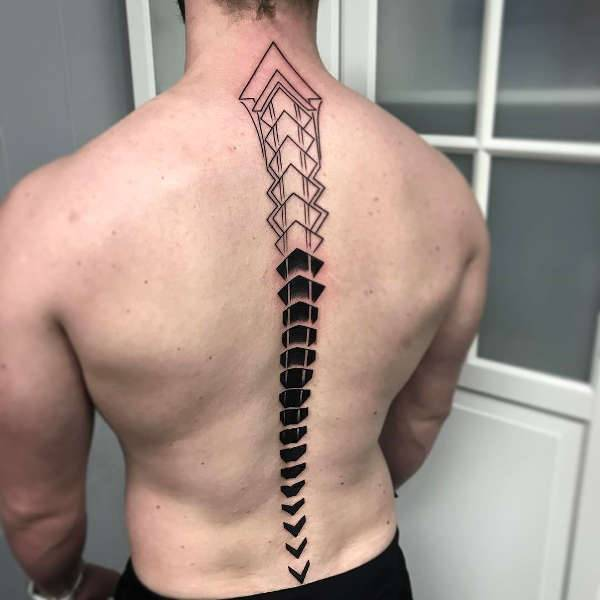 spine tattoo for men
