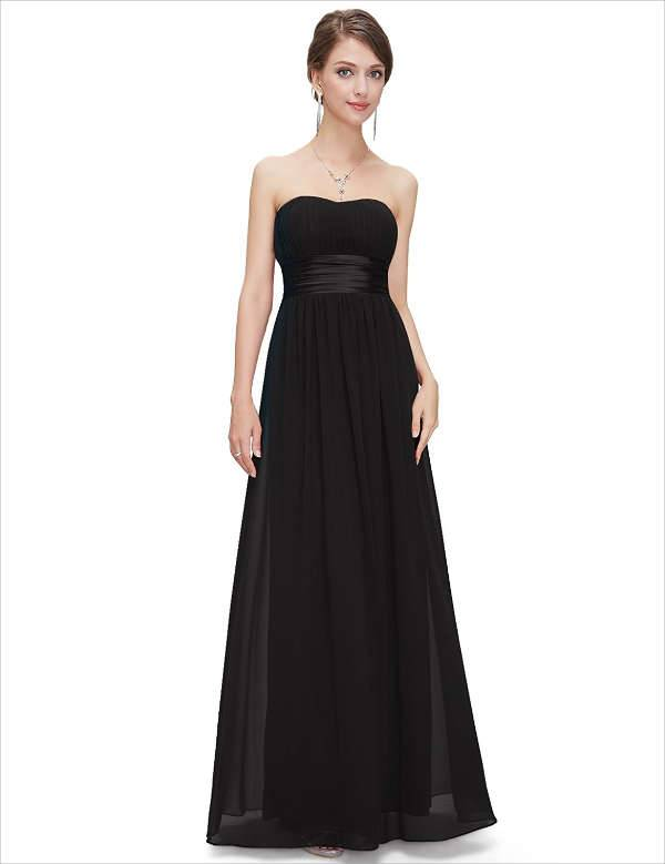 strapless black bridesmaid dresses