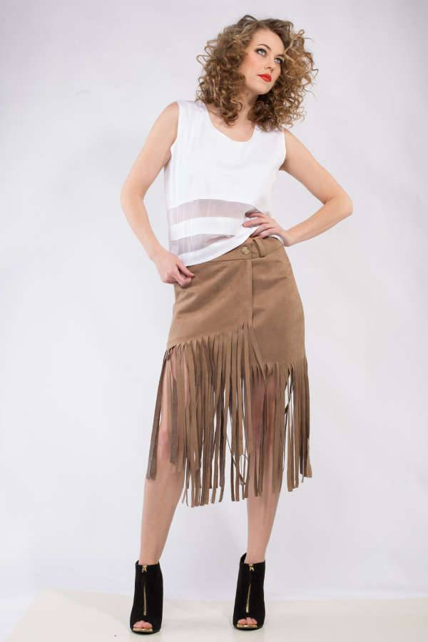Suede Fringe Skirt Design
