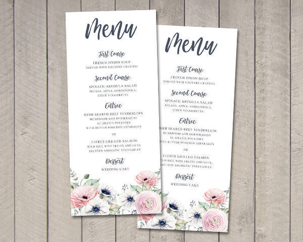 summer wedding party menu