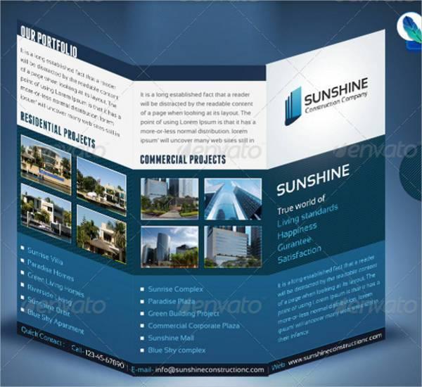 Sunshine Construction Company Tri Fold Brochure
