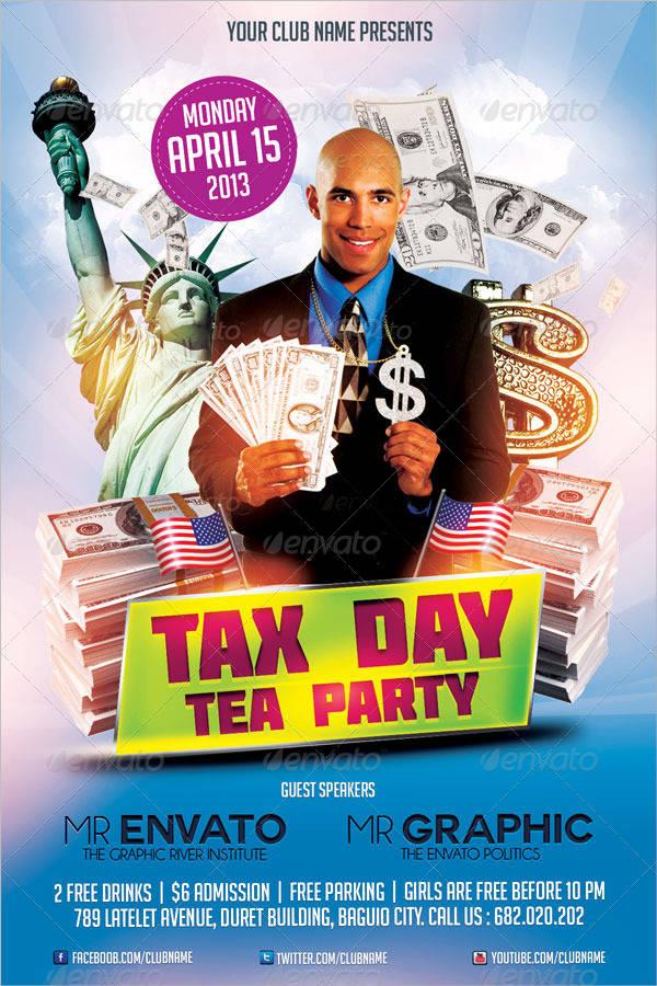 Tax Day Tea Party Flyer PSD