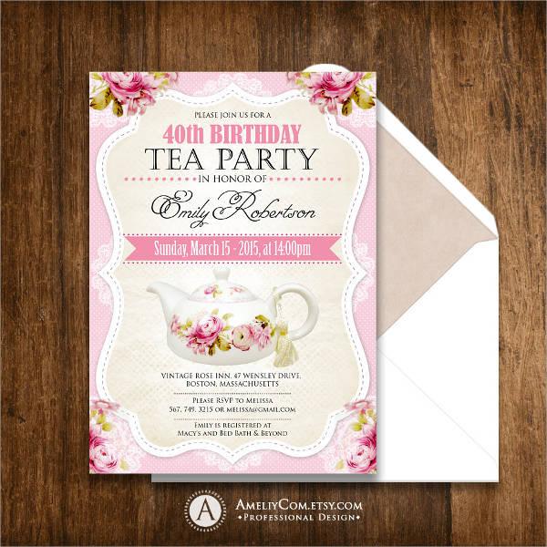 Tea Party Birthday Invitation Flyer