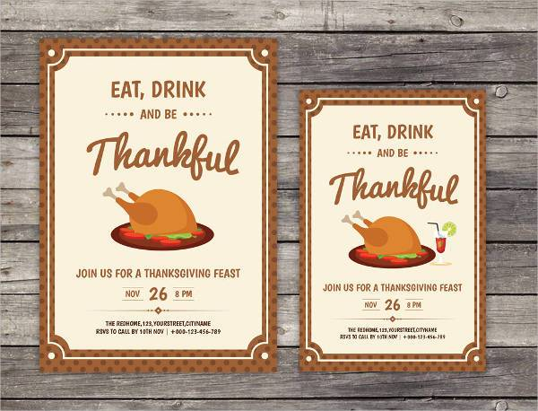 Thanksgiving Day Home Party Invitation Flyer