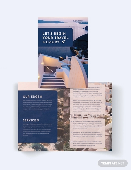 travel company bi fold brochure template