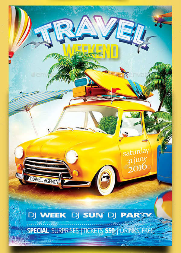 Travel Weekend Party Flyer