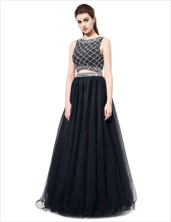 Two Piece Black Prom Dress